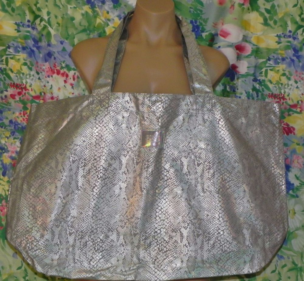Victorias Secret Tote Bag Shopper metallic python lg large Silver ...