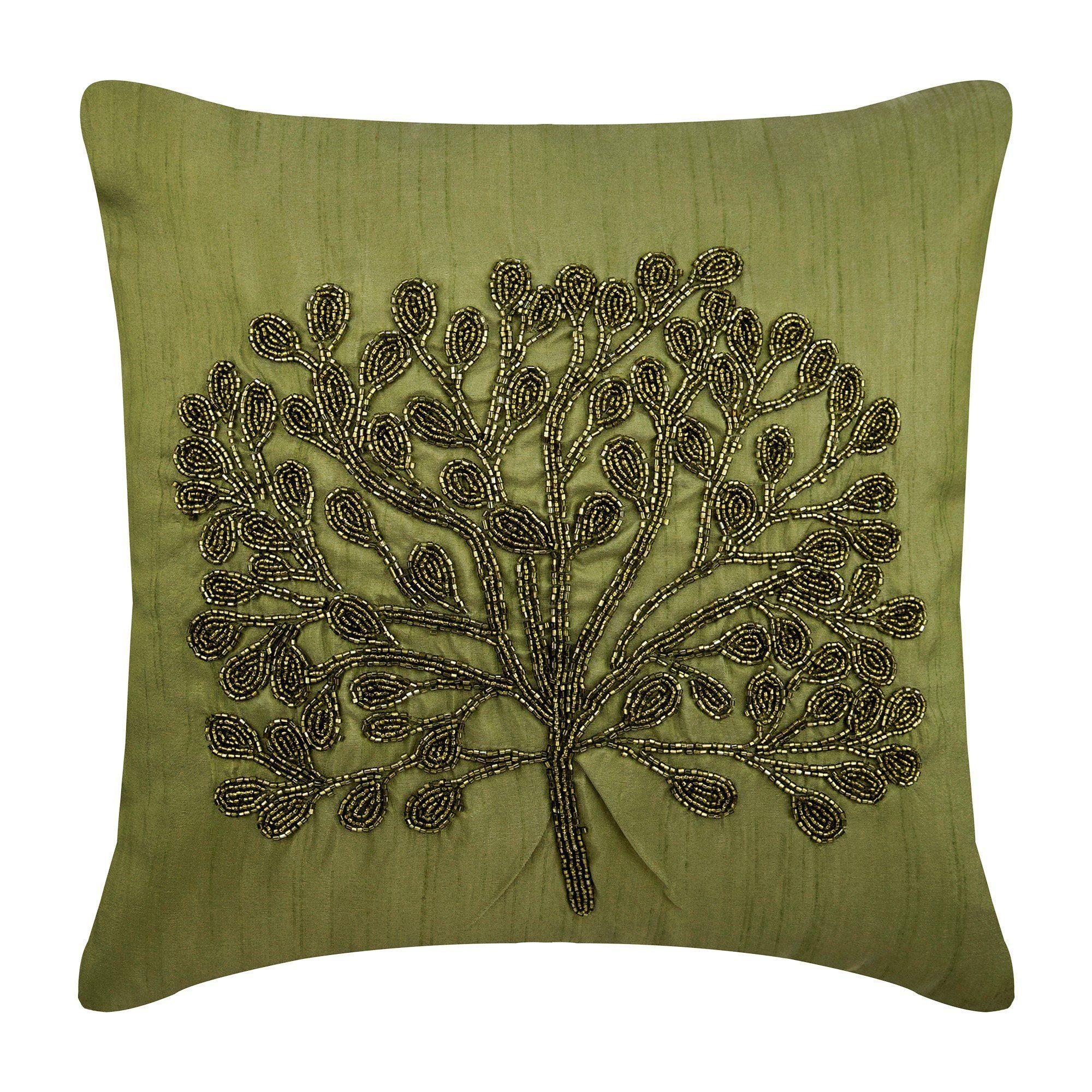 Designer Green Throw Pillow Cover 16x16 Art Silk Etsy Green Throw Pillows Silk Pillow Cover Botanical Pillow