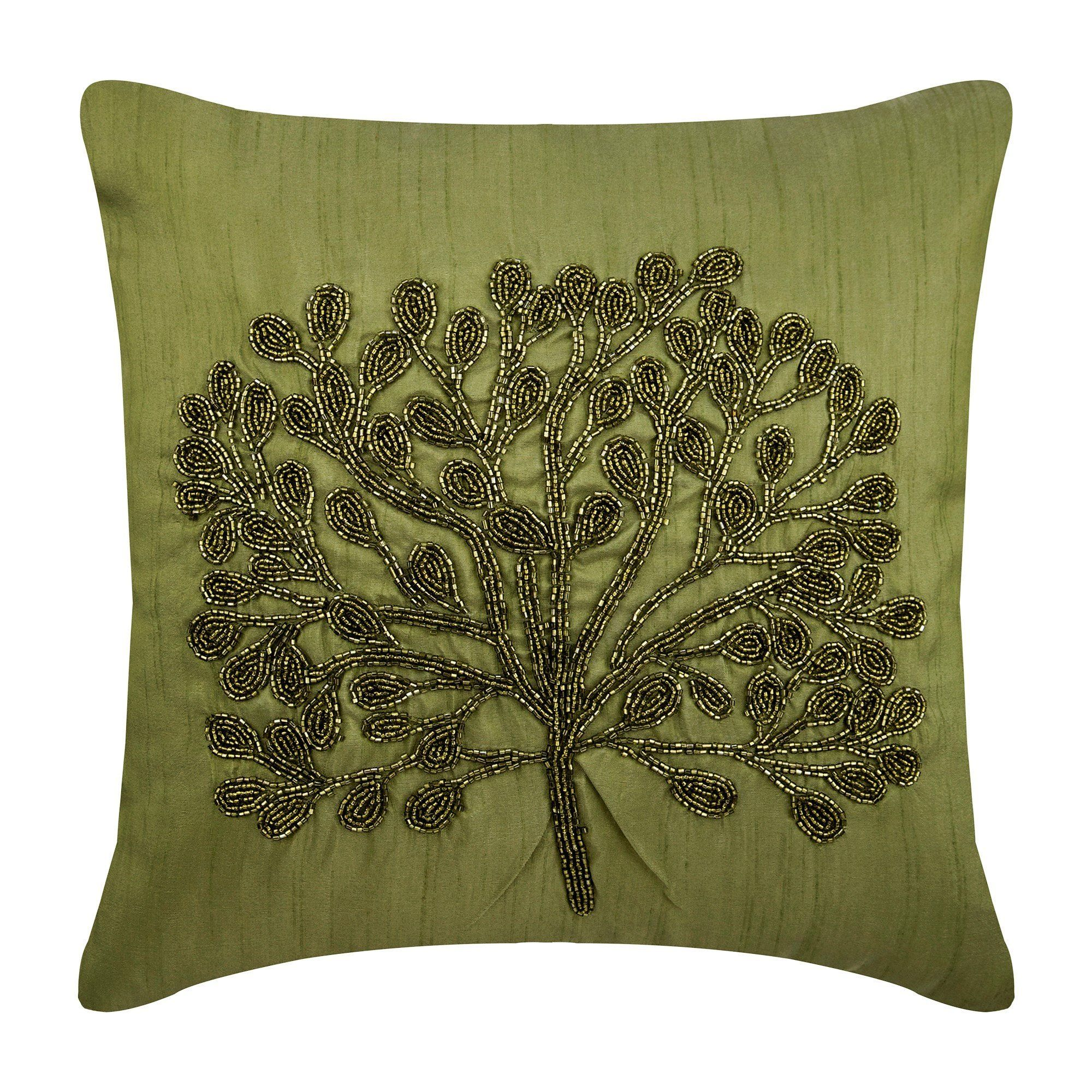 Designer Green Throw Pillow Cover 16 X16 Art Silk Couch Throw
