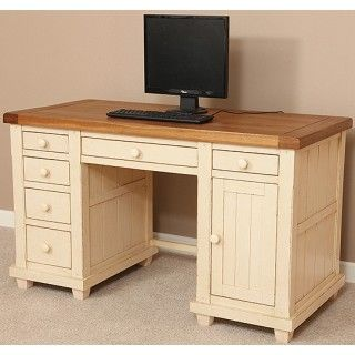 Phoenix Shabby Chic Rustic Oak And Painted Computer Desk