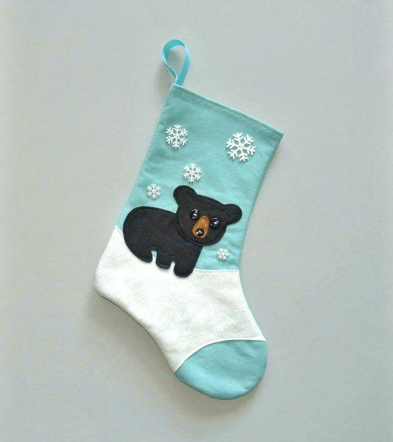 Black Bear Christmas Stocking in Aqua Blue by by AllenbriteStudio