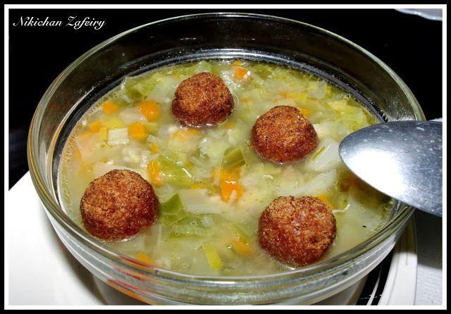 Sopa de Verduras y Pollo con Albóndigas (sin huevo)