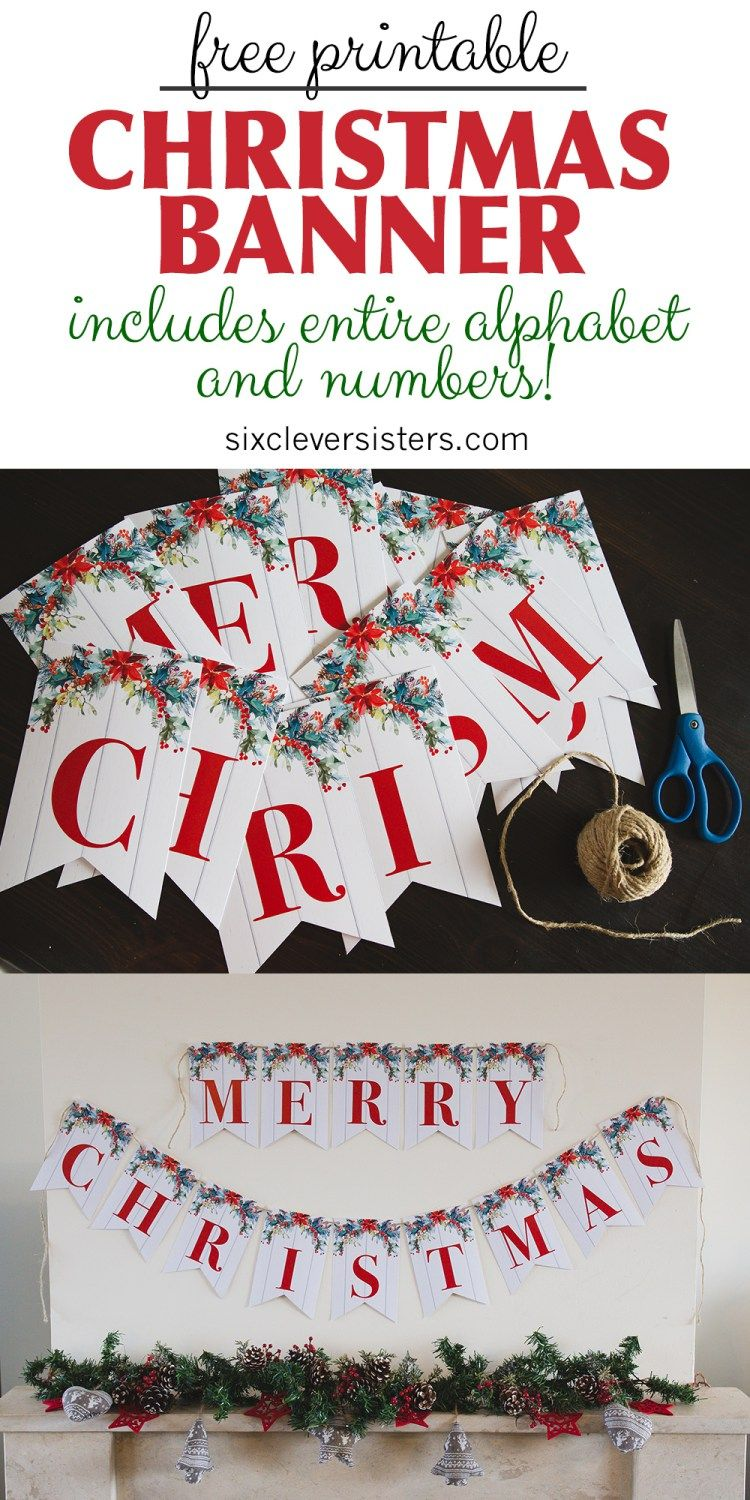 photo about Free Printable Banners and Signs named 6 No cost Printable Xmas Signs or symptoms Xmas Merry