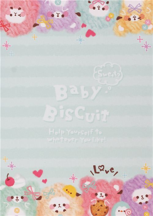 pastel colored biscuit bear block glitter Note Pad by Q-Lia 5