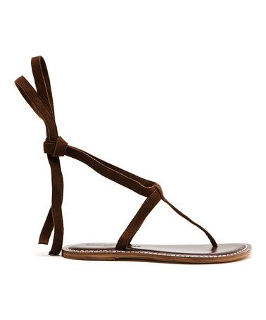 Take a look at this Dark Brown Tie Sandal by Bernardo on #zulily today!