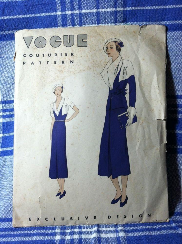 Gorgeous 1932 Vogue Couturier Kimono Style Dress & Jacket pattern