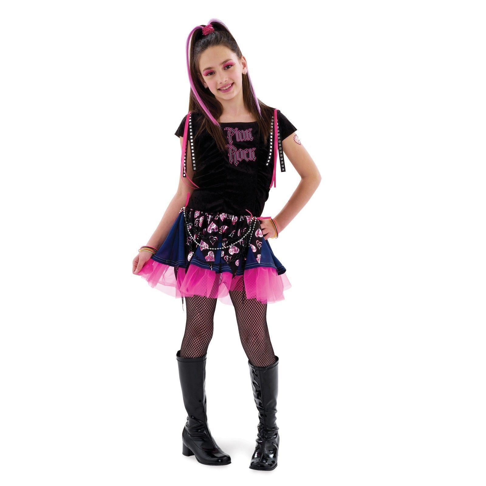 girls 80s rock costume medium 8 10 halloween kids child pink punk 1980s dress ebay - 80s Rocker Halloween Costume