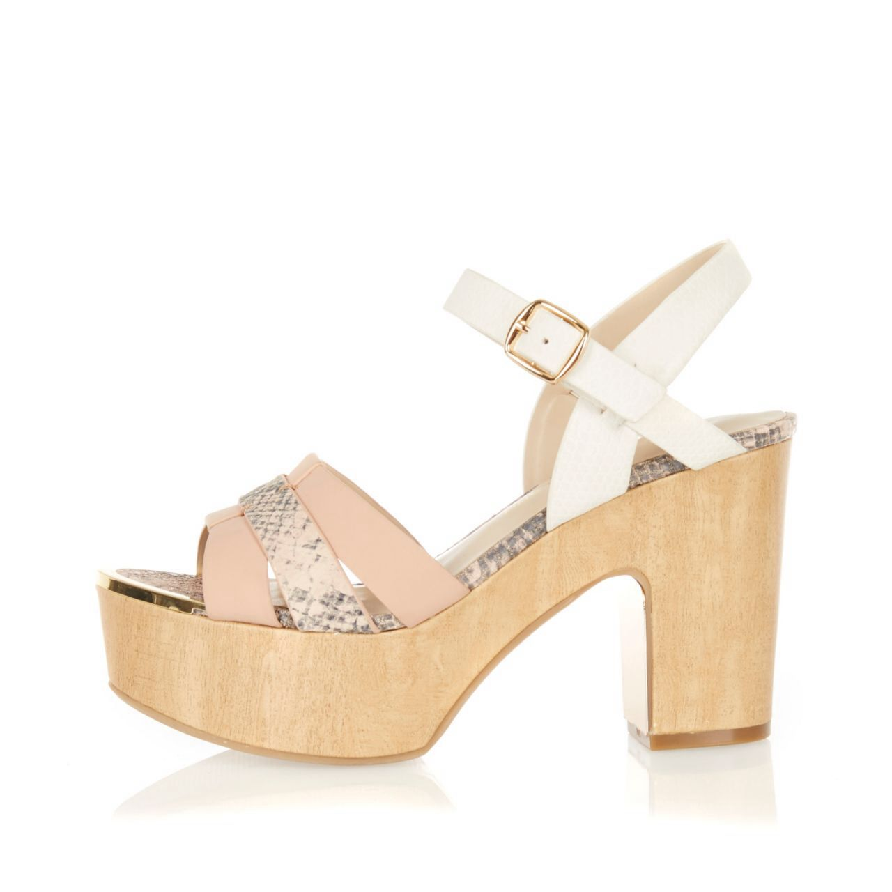 Checkout this Light pink wooden platforms from River Island