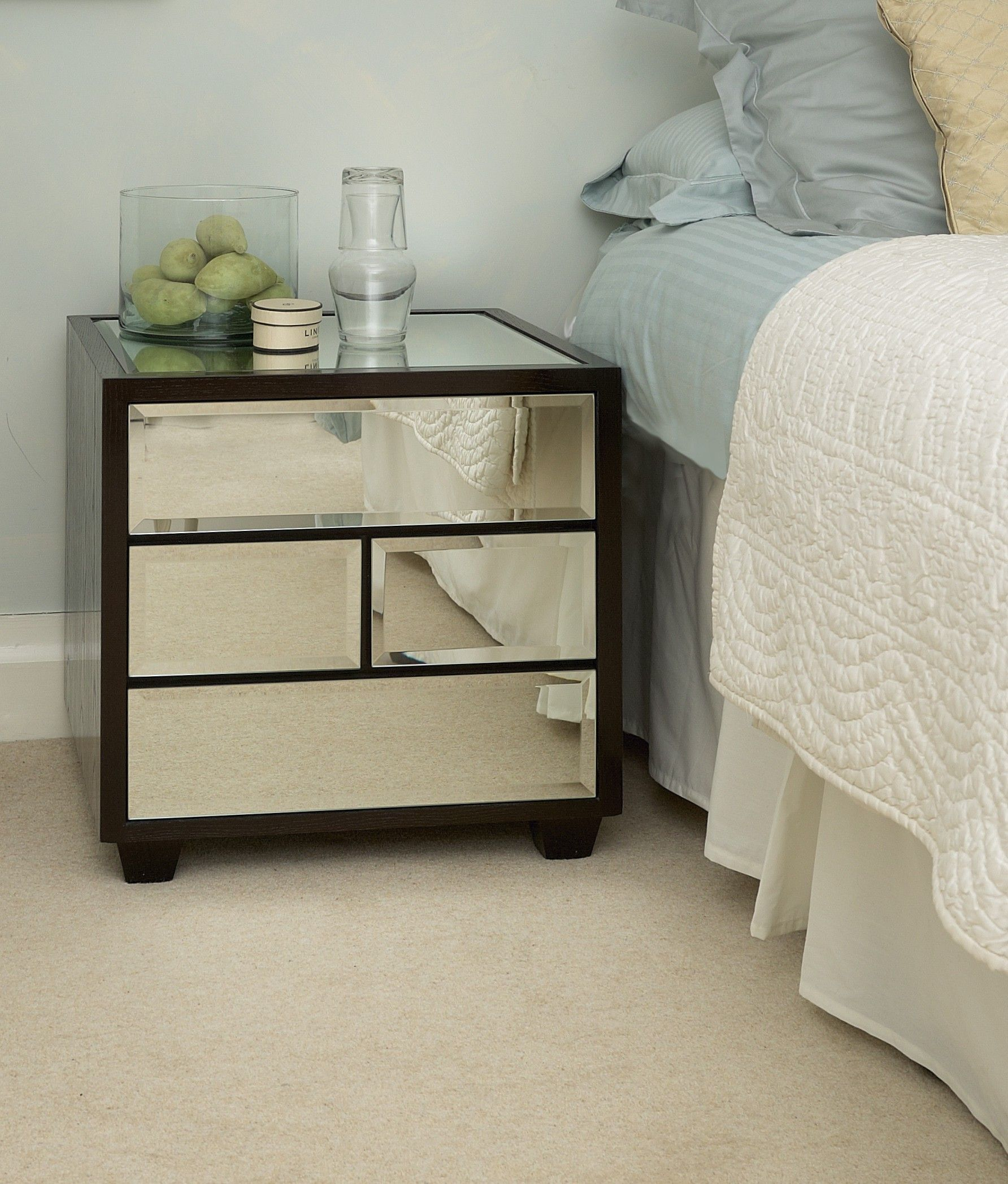 Furniture Venetian Mirrored Bedside Table With Glass Top 4 Drawer And Brown Wooden Frame On Carpet Tiles Ideas