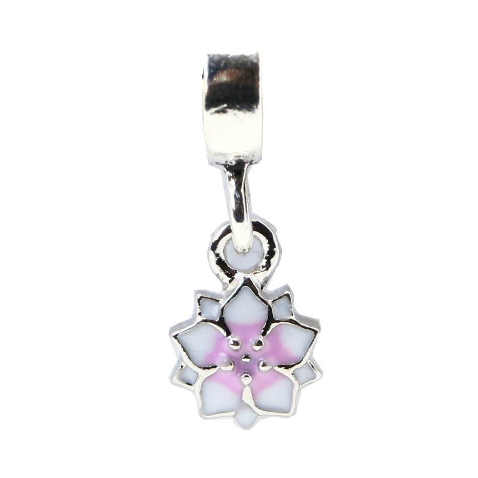 New silver plated bead pink u white enamel flower hanging beads