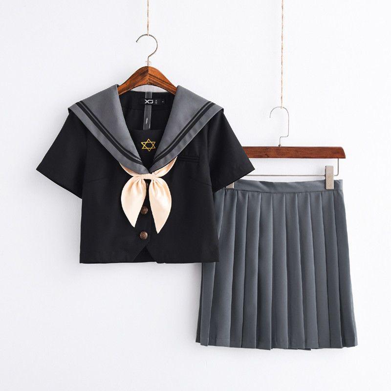 Women School Uniform Set Girls Student Japanese JK Pleated Skirt Cosplay Costume