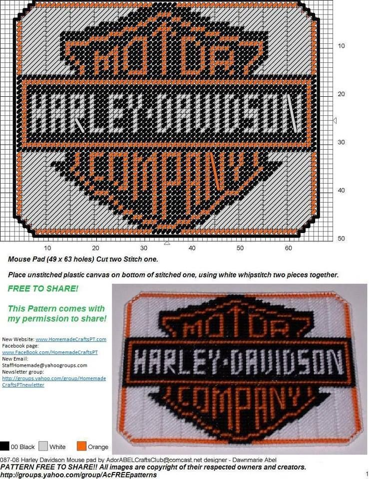 Harley Mousepad Plastic Canvas Harley Davidson Plastic Canvas