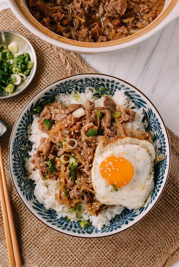 Gyudon Japanese Beef Rice Bowls Recipe Rice Bowls Recipes Food Recipes