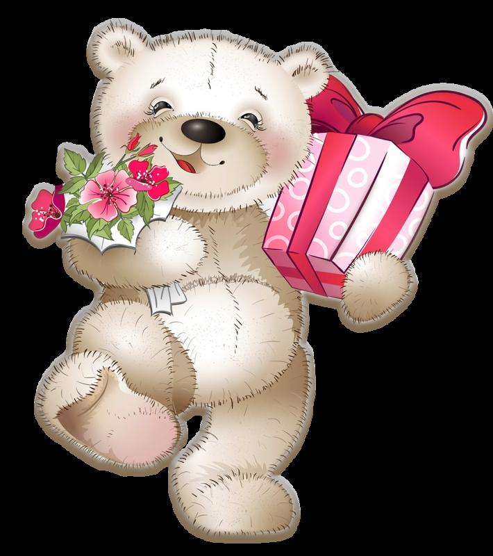 Картинки мишек цветов подарков