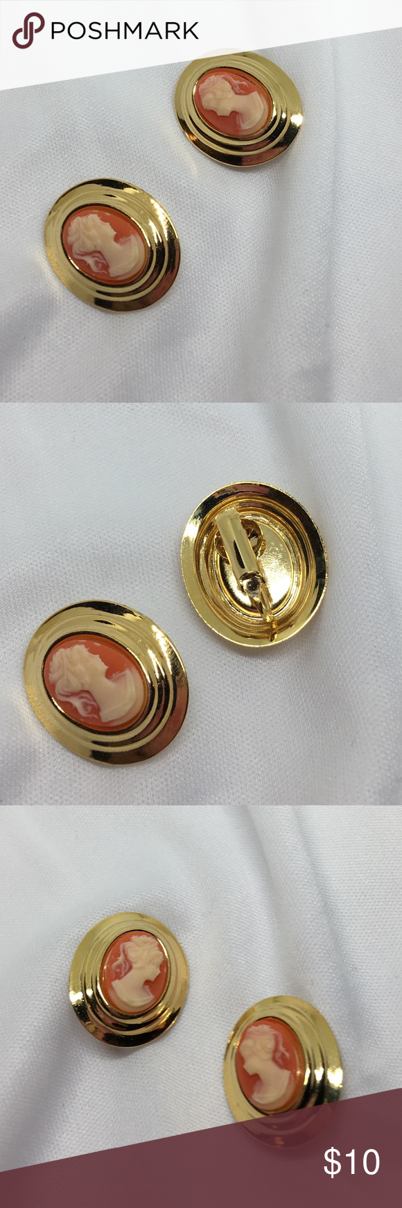 """🆕Vintage Gold Cameo Clip Earrings Vintage clips in bright gold with resin carnelian cameos. In excellent condition, like new! Each 1"""" long. Vintage Jewelry Earrings"""