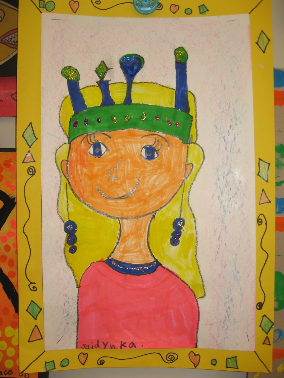 Kindergarten Kings Queens Self Portraits Jamestown Elementary Art Blog