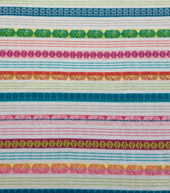Doodles Collection Stretch Knit Stripe Multi White - 95% Cotton 5