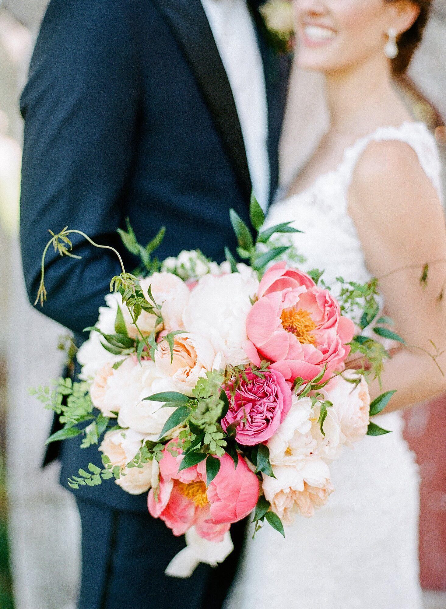 pink wedding bouquets peonies