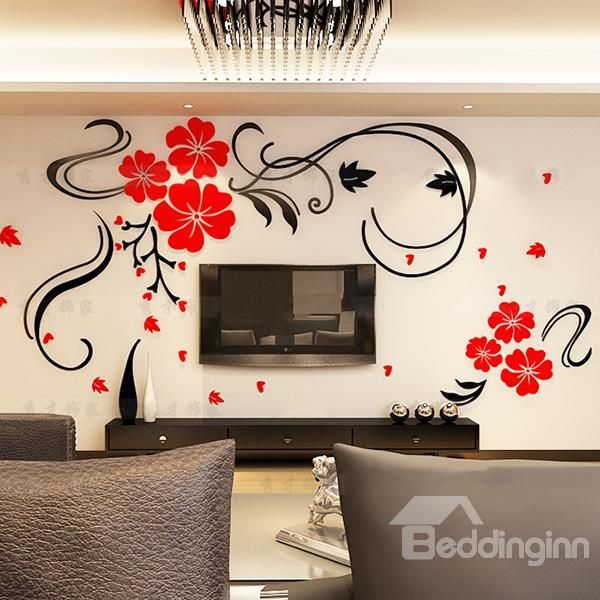 gorgeous floral and butterfly pattern living room 3d wall sticker in
