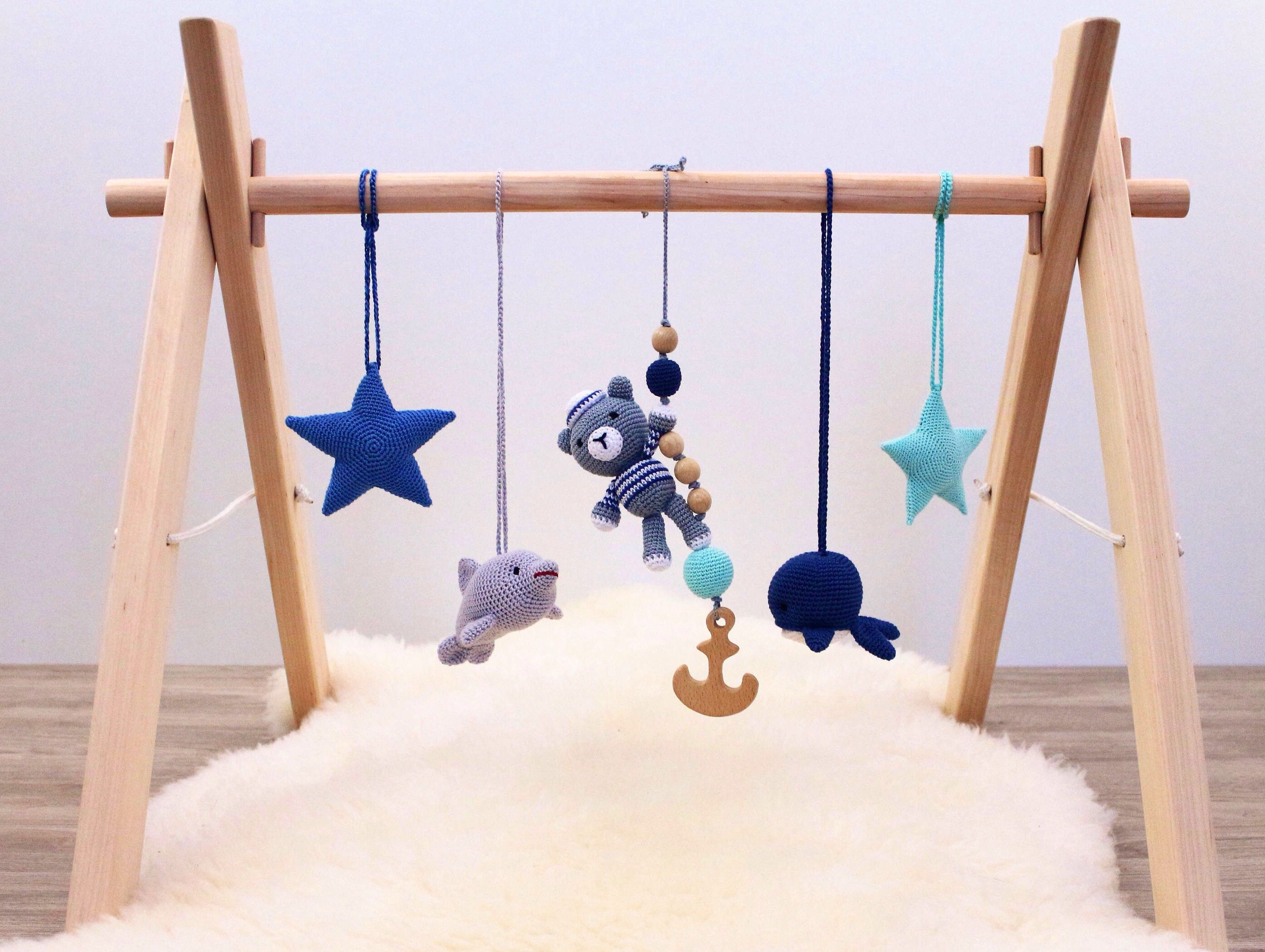 Baby Spieltrapez Nautical Baby Play Gym With 5 Toys Baby Gym Wood Crochet Baby