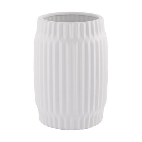 Tall Fluted Pot - White