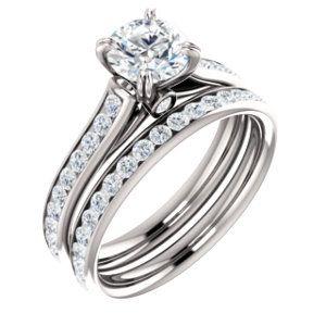 14kt White 3/8 CTW Diamond Semi Mount Engagement Ring for 6mm Round Center
