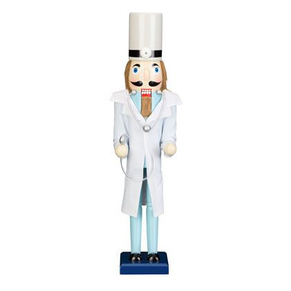 "Find it at bombaycompany.com - 24"" Doctor Nutcracker. A touch of vintage Victorian Our Doctor Nutcracker is ready for holiday house calls. With his dove gray top hat and stethoscope, this fine gent is perfectly groomed in his white topcoat and pale blue suit. Give our Doctor Nutcracker to your favorite marvel in medicine, only from Bombay."