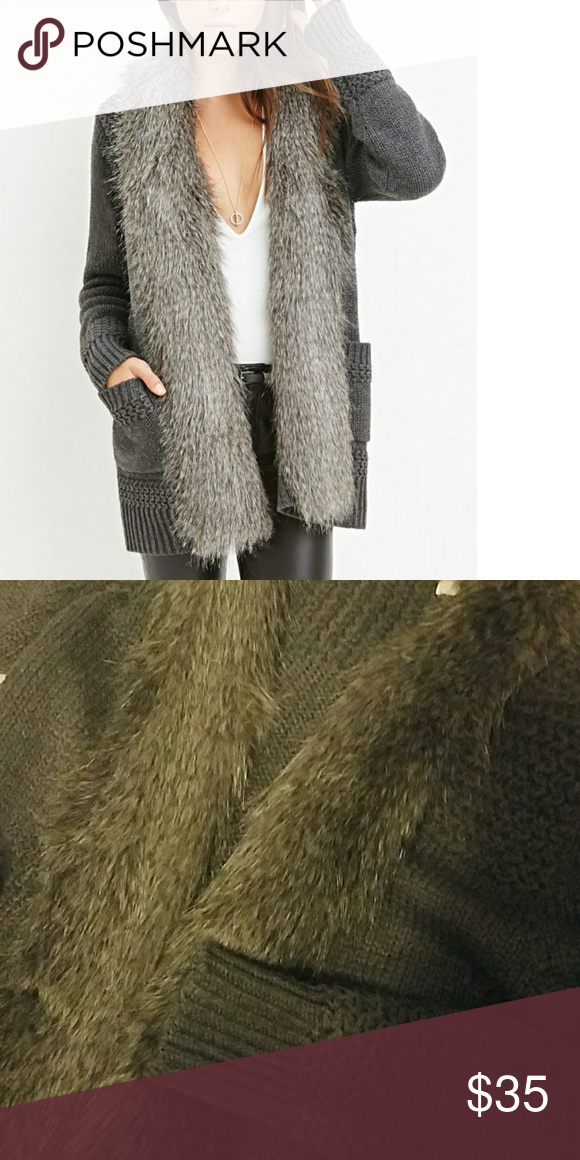 d13290e5164a8 Spotted while shopping on Poshmark  NWT grey faux fur trim cardigan sweater  XS!  poshmark  fashion  shopping  style  Sweaters