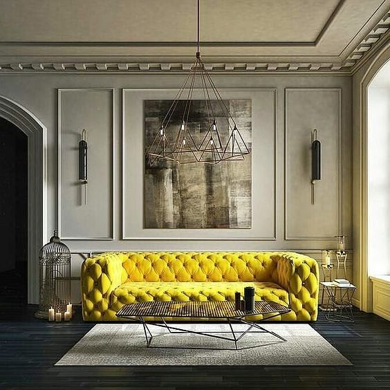 #matluxuryhouse #interiordesign #sofa #yellow #acsessories