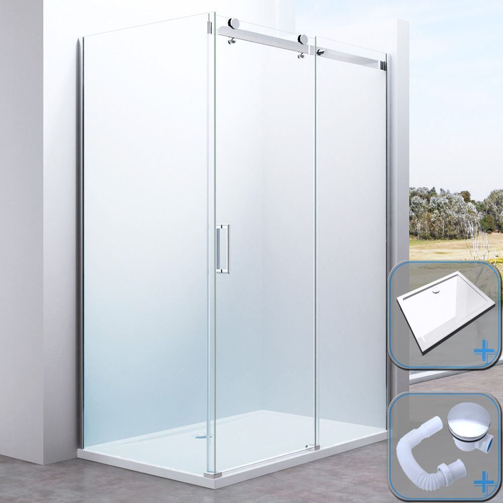 Details About Durovin Shower Enclosure And Tray Frameless Sliding Glass Door With Side Panel Shower Enclosure Glass Door Frameless Shower Enclosures