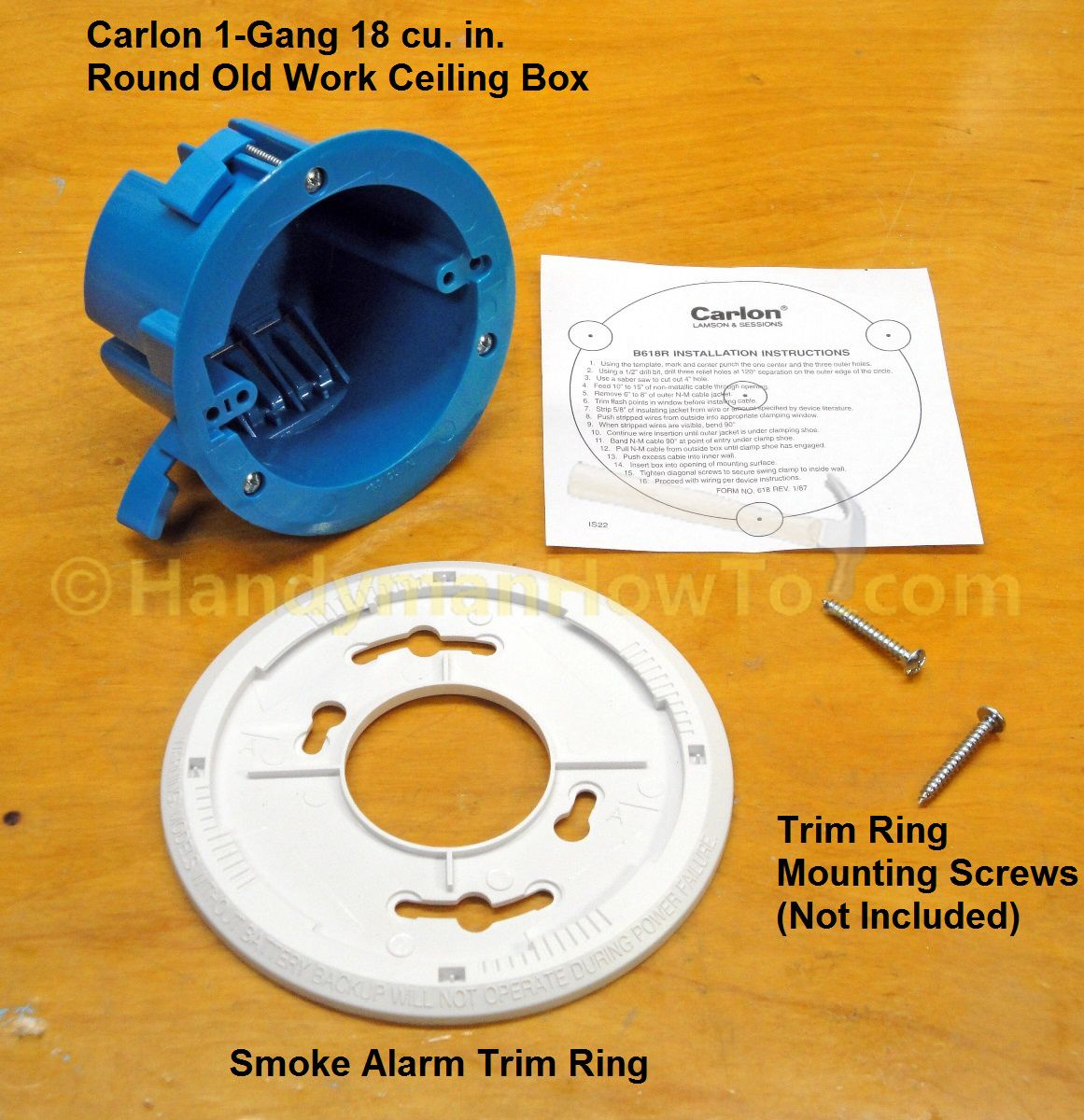 Carlton B618r Round Old Work Ceiling Box With Smoke Alarm Trim Plate