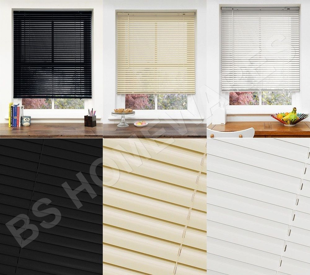 Pvc Blinds Window Venetian Easy Fit Home Office Blind All Size Black ...