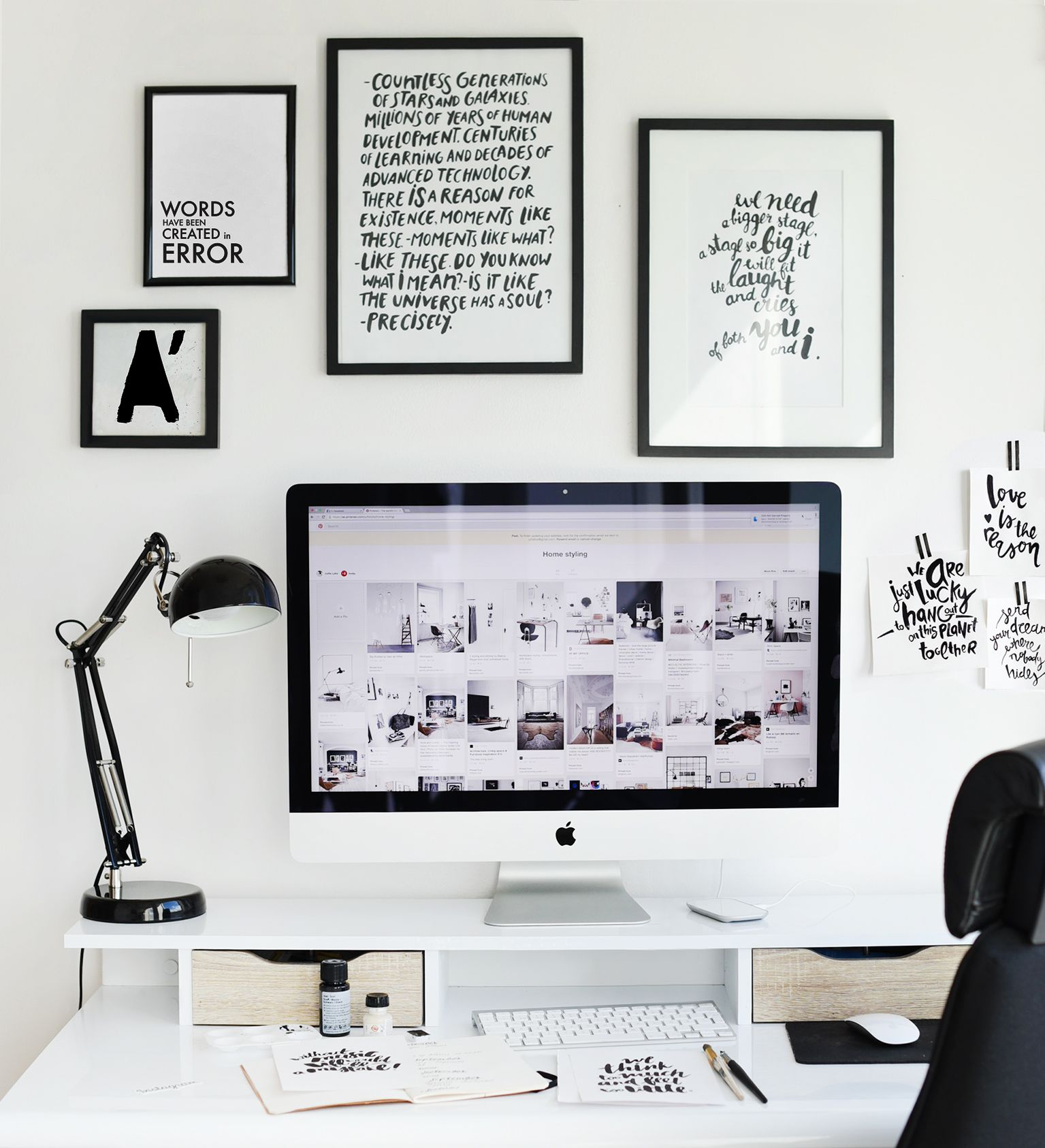 Work place. Interior. Monochrome interior. Scandinavian home. Wall ...