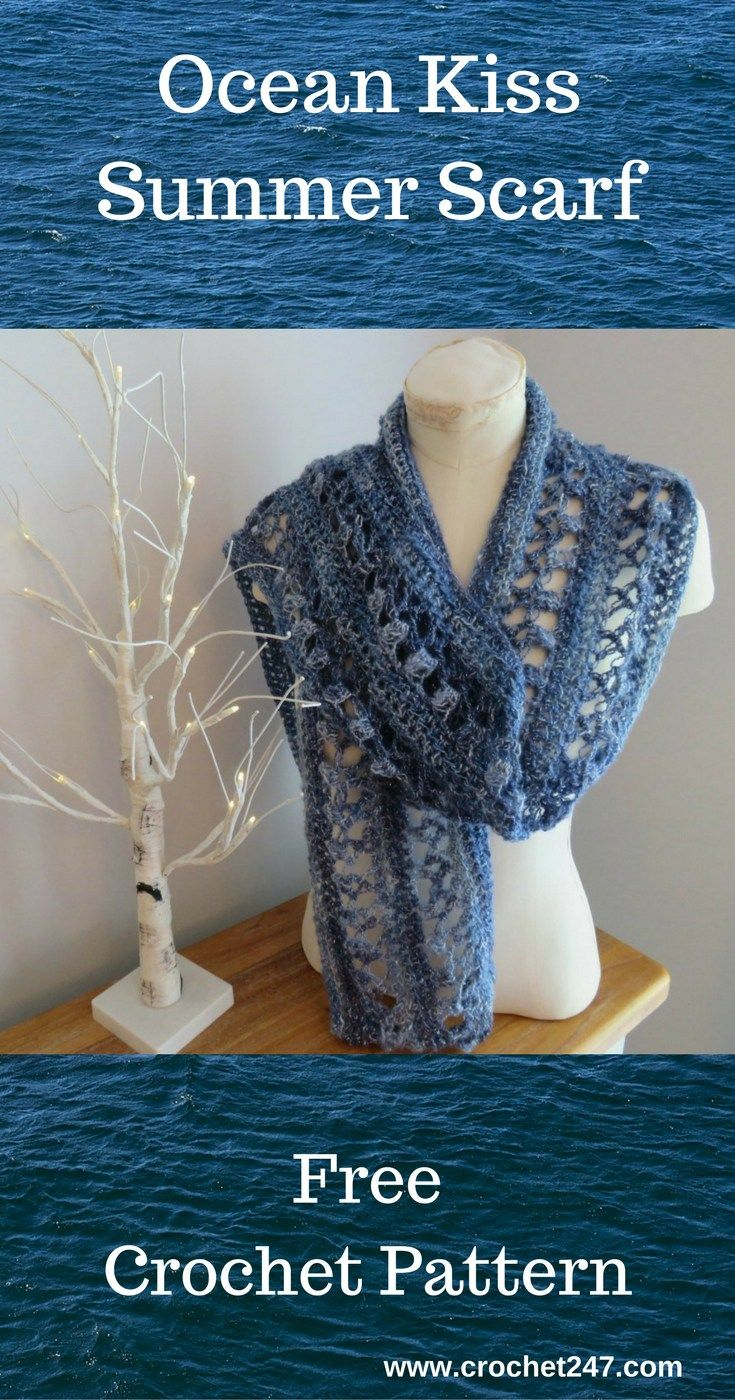 Ocean Kiss Summer Scarf Crochet247 | crocheting | Pinterest | Hals ...