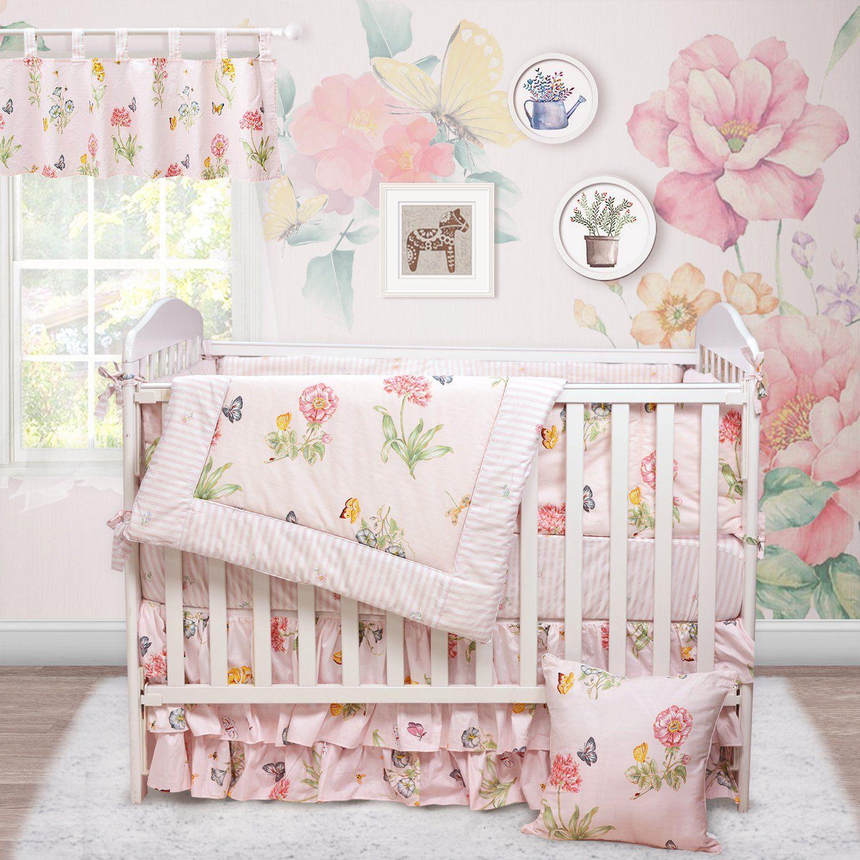 Brandream Butterfly Baby Bedding Girl Pink Floral Crib Bedding