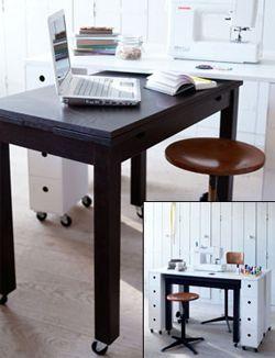 DIY Workspace on wheels #desk #office - Werkplek op wieltjes #bureau. Kijk op www.101woonideeen.nl