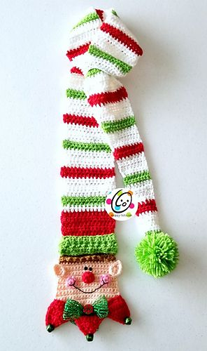 Long Tail Snappy Elf Scarf pattern by Heidi Yates | Navidad de ...