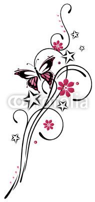 Vector: tattoo, flowers, petals, butterfly, pink, pink