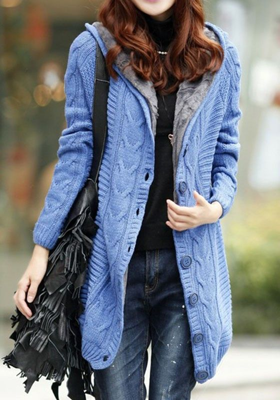 Blue Geometric Fur Single Breasted Fleece Hooded Sweet Long ...