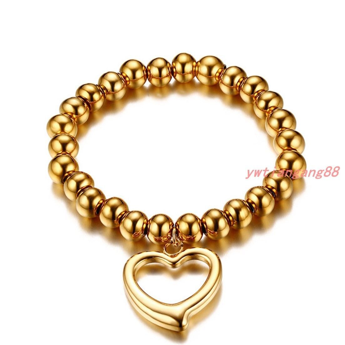 Cute women mm gold rosary beads l stainless steel heart charm
