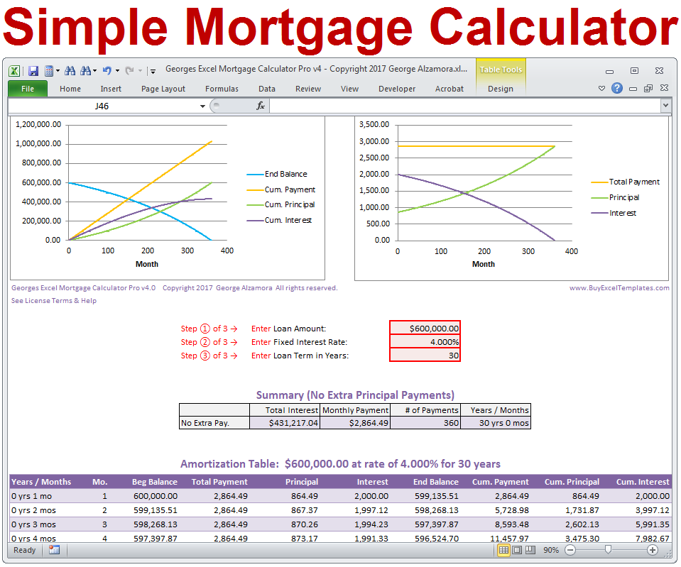 Simple Excel Mortgage Calculator Calculate Loan Payment By Adding
