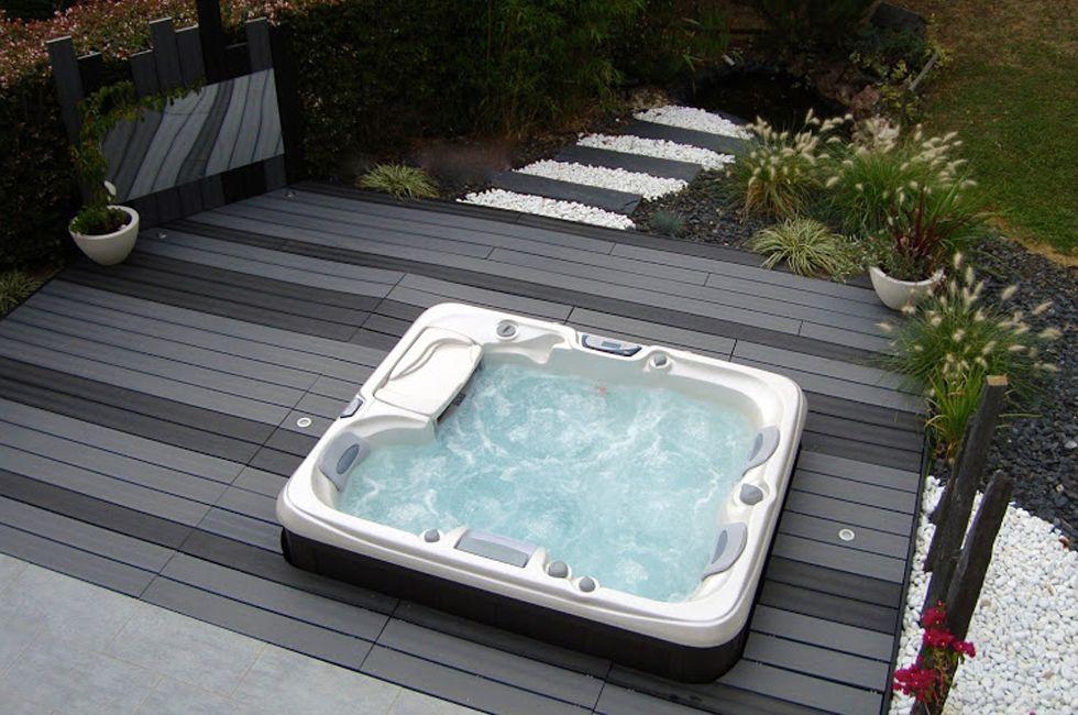votre spa peut être l'élément autour duquel tourne l'aménagement de votre jardin