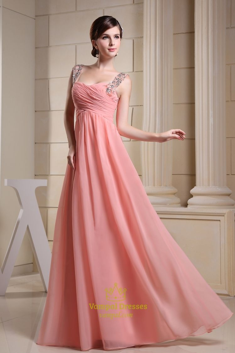 Long Coral Bridesmaid Dress, Chiffon A-Line Floor-Length Evening ...