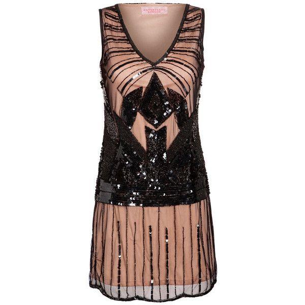 Us20 Uk24 Aus24 Eu52 Black Nude Plus Size Dress Vintage Inspired 20s
