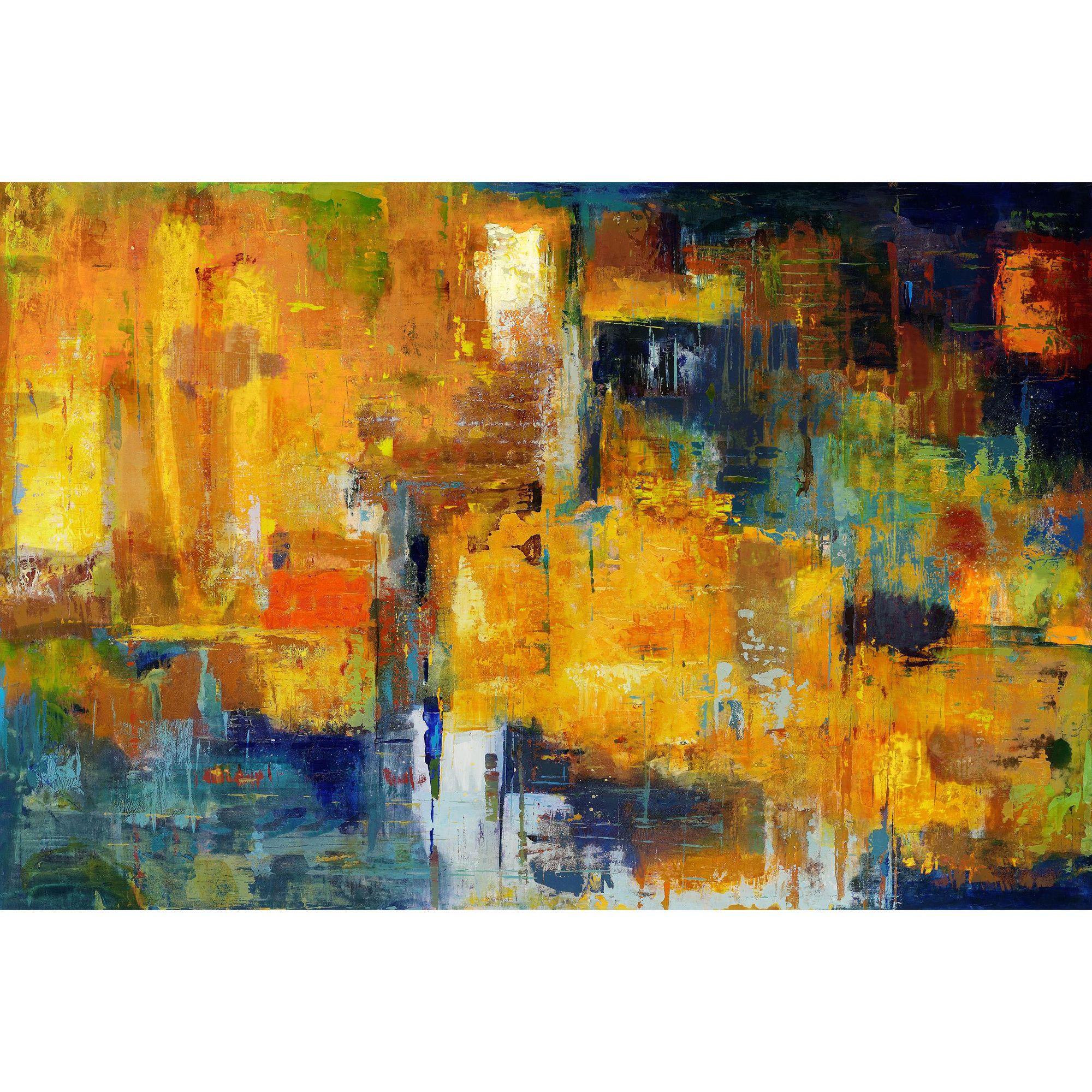 Aurelle Home Acrylic Strokes \'Cool Tones\' Canvas Art (Canvas Wall ...