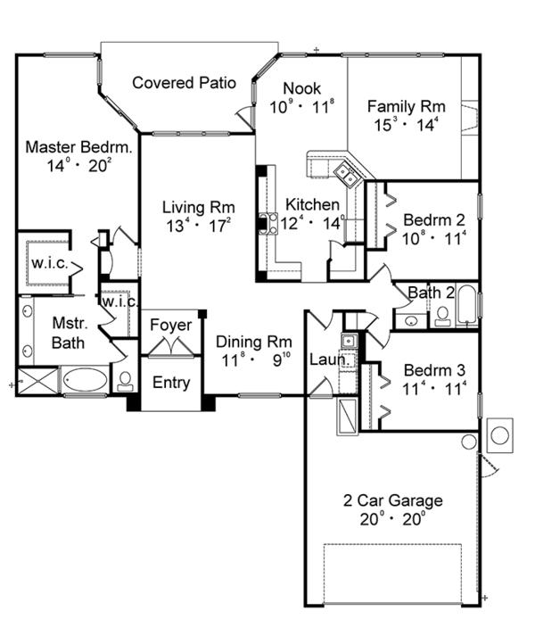 Mediterranean Style House Plan 3 Beds 2 Baths 2050 Sq Ft Plan 417 831 Simple House Plans House Plans How To Plan