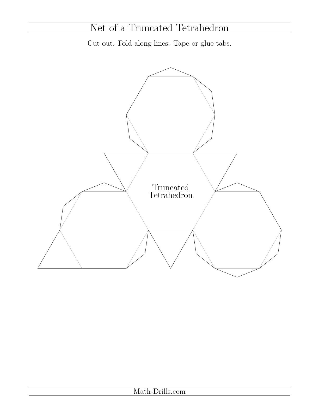 Nets Of Archimedean Solids Math Worksheet Freemath