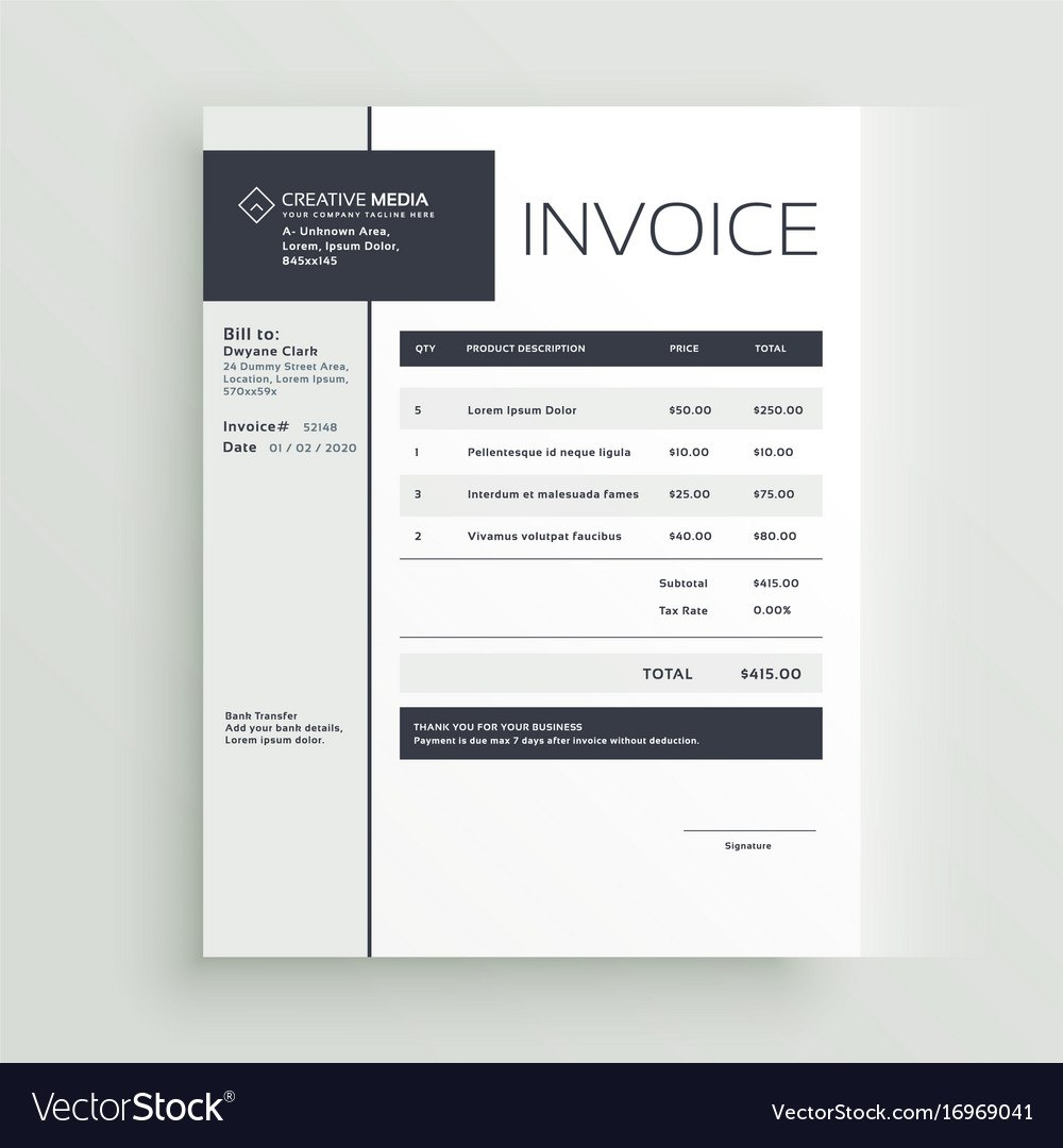 Creative Invoice Template Design Royalty Free Vector Image Throughout Cool Invoice Template Free 10 Pr Invoice Design Invoice Template Templates Free Design