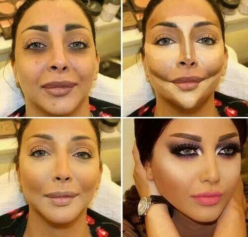 contouring and highlighting the face before and after contouring
