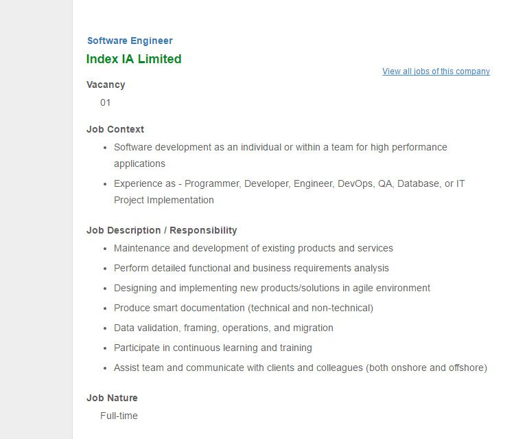 Index Ia Limited - Position: Software Engineer - Jobs Opportunity
